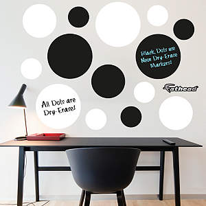 Black & White Dry Erase Message Dots Fathead Wall Decal